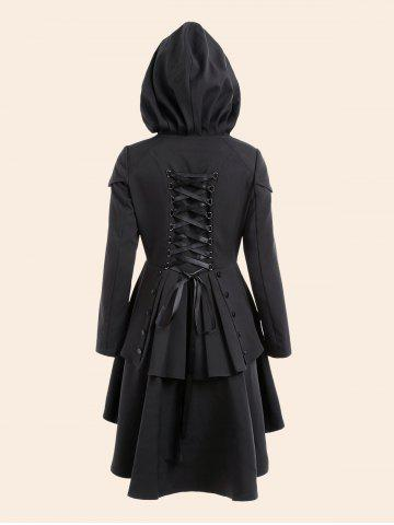 Affordable Lace Up High Low Plus Size Hooded Coat - 5XL BLACK Mobile