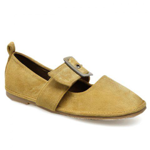 Fancy Buckle Strap Faux Suede Flats - 35 YELLOW Mobile