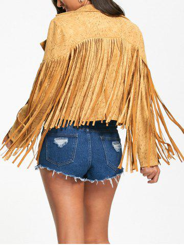 Fancy Zip Up Long Fringed Short Jacket - L YELLOW Mobile