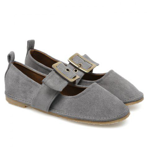 Fancy Buckle Strap Faux Suede Flats GRAY 37