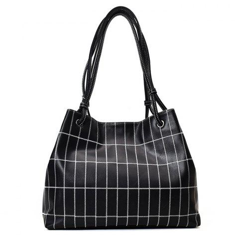 Store Faux Leather Stitching Plaid Shoulder Bag
