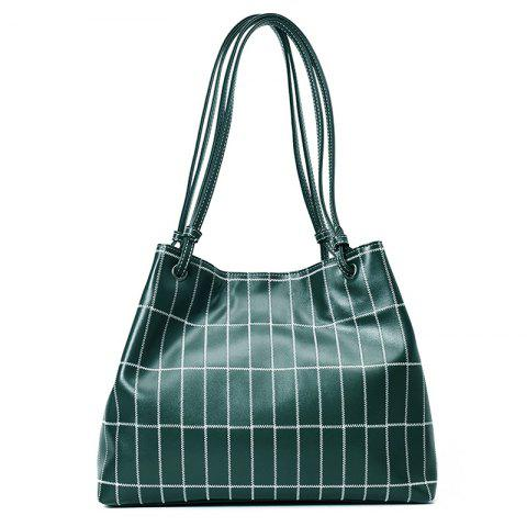 Sale Faux Leather Stitching Plaid Shoulder Bag GREEN