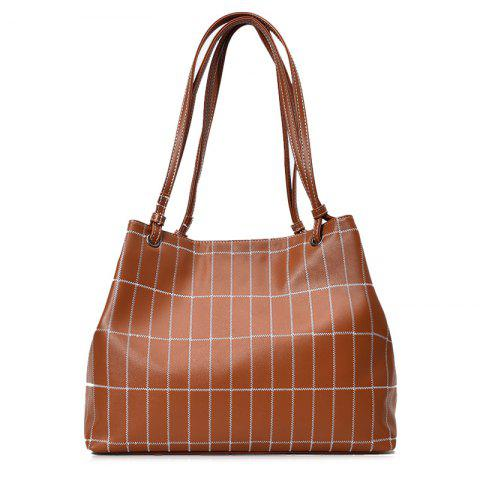 New Faux Leather Stitching Plaid Shoulder Bag BROWN