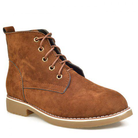Best Ankle Lace Up Faux Suede Boots - 35 BROWN Mobile
