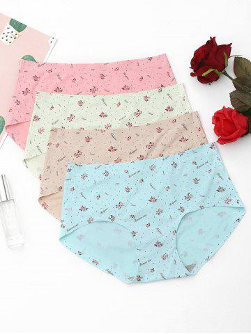 Fashion 4 Pieces Floral Print Seamless Panties COLORMIX ONE SIZE
