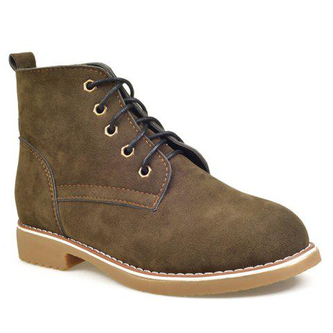 Shop Ankle Lace Up Faux Suede Boots - 39 ARMY GREEN Mobile