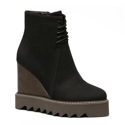 Best Lace Up Corduroy Wedge Ankle Boots - 35 BLACK Mobile