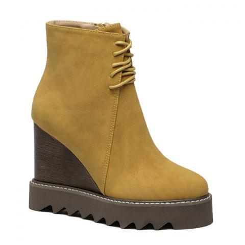 Outfits Lace Up Corduroy Wedge Ankle Boots YELLOW 39