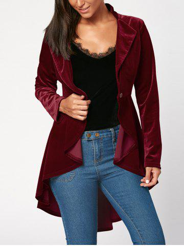 Store One Button High Low Velvet Peplum Blazer - L WINE RED Mobile