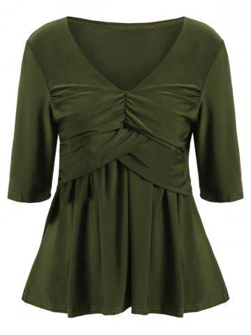 Affordable Ruched Empire Waist Bandeau Tee - S ARMY GREEN Mobile