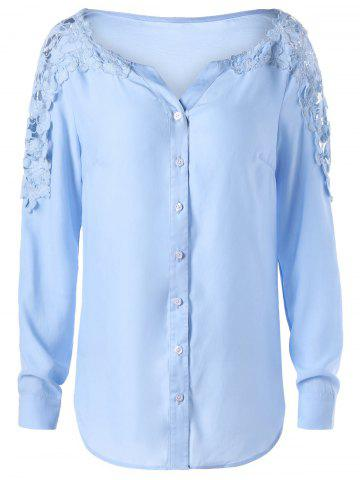 Store Lace Panel Hollow Out Long Sleeve Shirt WINDSOR BLUE M