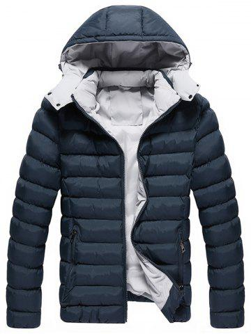 Zip Up Upchable Hood Quilted Jacket Bleu Cadette 5XL