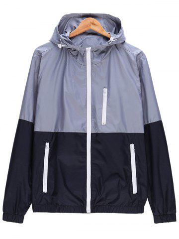 Unique Two Tone Zip Up Hooded Lightweight Jacket GRAY 3XL