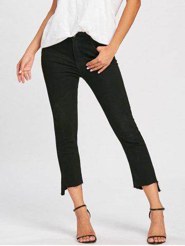 Outfits Cropped Frayed Hem Zipper Jeans BLACK M