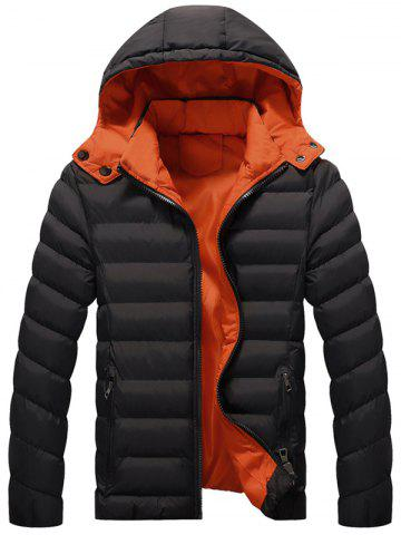 Outfit Zip Up Detachable Hood Quilted Jacket - 5XL BLACK Mobile