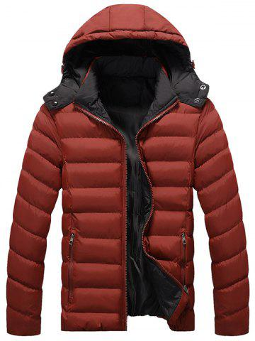 Zip Up Upchable Hood Quilted Jacket Rouge Foncé 5XL