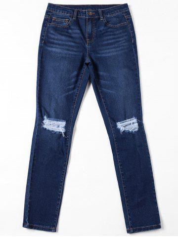 Shop Ripped Pockets Jeans with Cat's Whisker - L DENIM BLUE Mobile