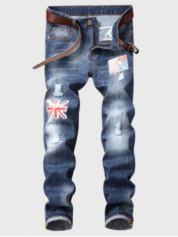 Unique Straight Leg Flag Applique Bleached Ripped Jeans