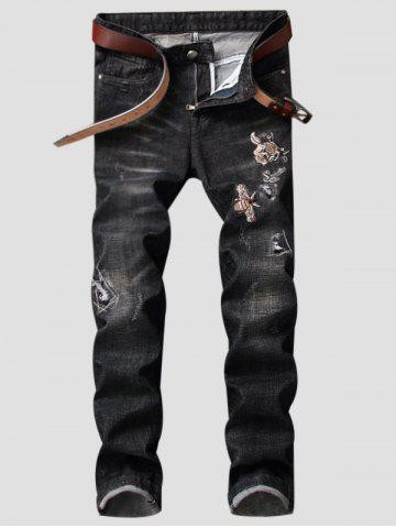 Outfit Straight Leg Butterfly Embroidered Ripped Jeans - 30 DEEP GRAY Mobile