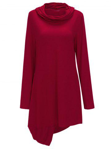Affordable Asymmetric Cowl Neck Sweatshirt Dress - M RED Mobile