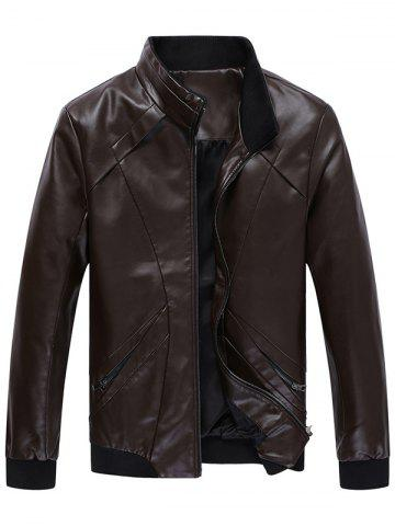Online Panel Design Zip Up Faux Leather Jacket COFFEE 3XL