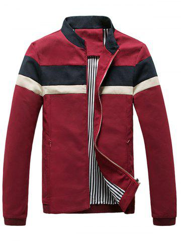 New Casual Striped Zip Pocket Bomber Jacket - 3XL DEEP RED Mobile