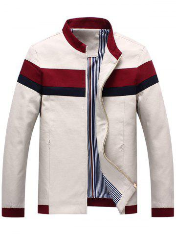 Discount Casual Striped Zip Pocket Bomber Jacket - 3XL OFF-WHITE Mobile