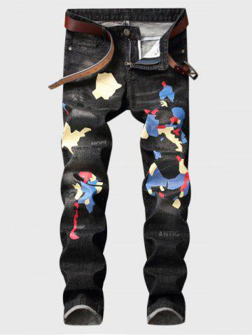 Discount Color Block Graphic Print Straight Leg Jeans DEEP GRAY 30