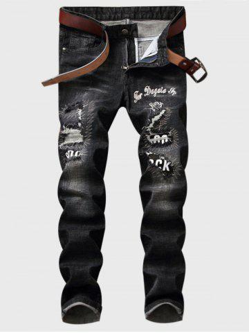 Outfit Embroidered Patch Straight Leg Ripped Jeans - 30 DEEP GRAY Mobile