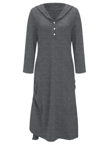 Shop Casual Side Ruched Hooded Dress GRAY 2XL