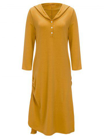 Buy Casual Side Ruched Hooded Dress - 2XL YELLOW Mobile