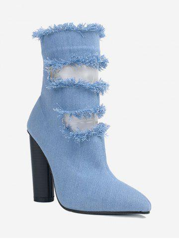 Buy Chunky Heel Pointed Toe Hollow Out Boots - 39 BLUE Mobile