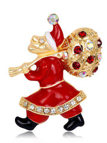 Trendy Rhinestoned Christmas Santa Gift Brooch - RED  Mobile