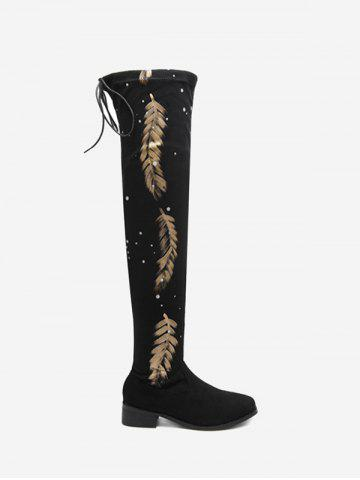 Outfit Chunky Heel Round Toe Print Thigh High Boots - 35 BLACK Mobile