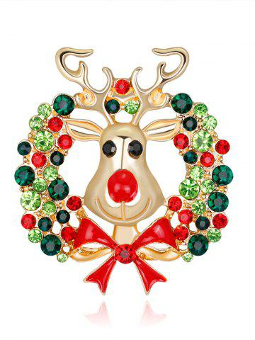 Rhinestone Christmas Wreath Deer Brooch Vert
