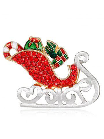 Sale Acrylic Rhinestones Christmas Ice Skates Shape Brooch - RED  Mobile