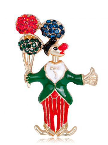 Shop Rhinestones Insert Clown Take The Balloon Brooch GREEN