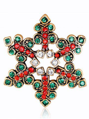 Shop Rhinestone Hollow Out Snowflake Brooch GREEN
