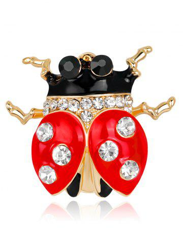 Best Rhinestones Insert Ladybird Brooch RED