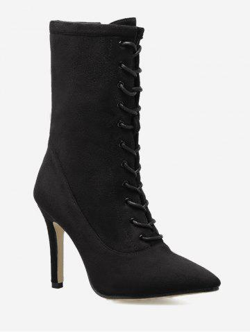 Online Lace Up Stiletto Pointed Toe Boots - 35 BLACK Mobile