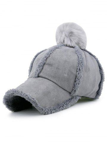 Cheap Faux Lambswool Panel Design Pom Baseball Hat - GRAY  Mobile