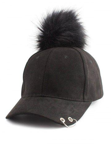 Chic Pom Baseball Hat with Hoop Ring BLACK