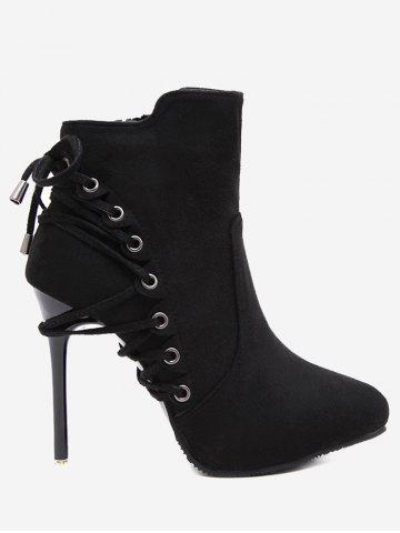 Sale Stiletto Pointed Toe Eyelet Ankle Boots - 34 BLACK Mobile