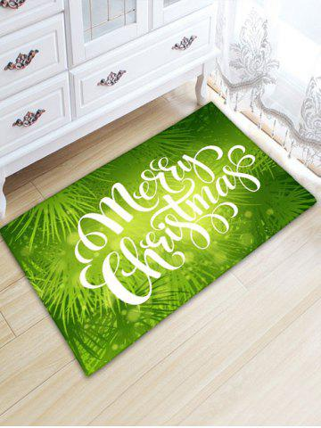 Unique Flannel Thickening Letter Print Christmas Rug - W20 INCH * L31.5 INCH GREEN Mobile