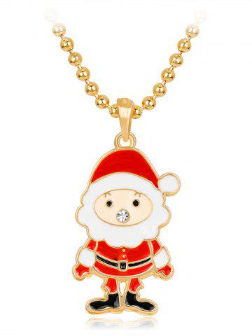 Shop Rhinestone Beaded Chain Christmas Santa Necklace - RED  Mobile