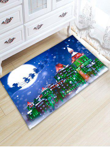 Chic Thickening Christmas Sled Building Bath Rug - W20 INCH * L31.5 INCH BLUE Mobile
