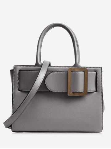 Fancy Buckle Strap PU Leather Handbag - GRAY  Mobile