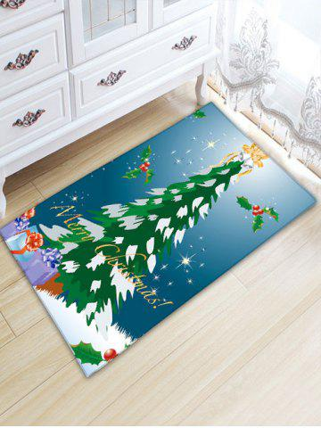 Latest Flannel Thickening Christmas Tree Antiskid Rug BLUE W20 INCH * L31.5 INCH