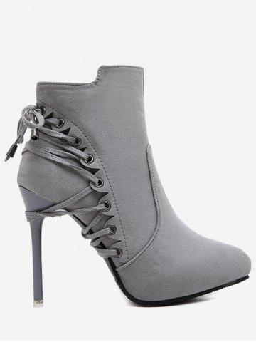 Chic Stiletto Pointed Toe Eyelet Ankle Boots GRAY 39