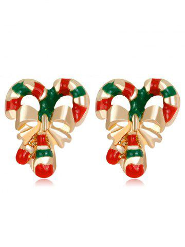 Chic Christmas Bowknot Striped Candy Cane Earrings - COLORMIX  Mobile
